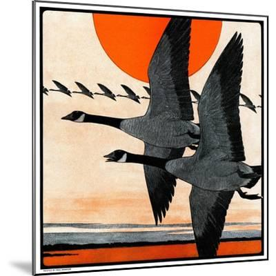 """""""Flock of Geese in Formation,""""November 15, 1924-Paul Bransom-Mounted Giclee Print"""