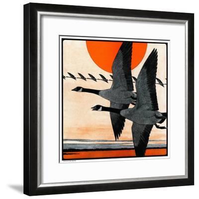 """Flock of Geese in Formation,""November 15, 1924-Paul Bransom-Framed Giclee Print"