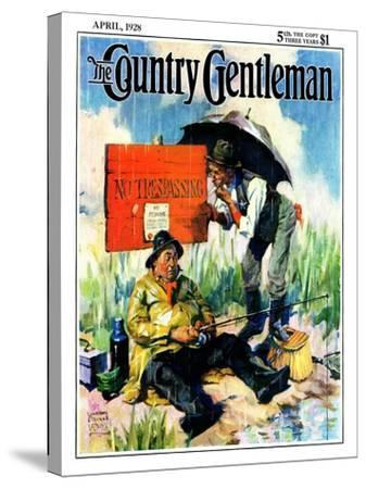 """""""'No Trespassing',"""" Country Gentleman Cover, April 1, 1928-William Meade Prince-Stretched Canvas Print"""