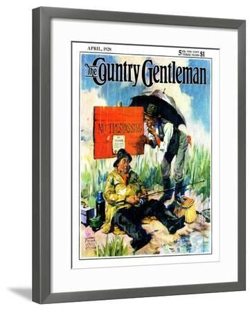 """""""'No Trespassing',"""" Country Gentleman Cover, April 1, 1928-William Meade Prince-Framed Giclee Print"""