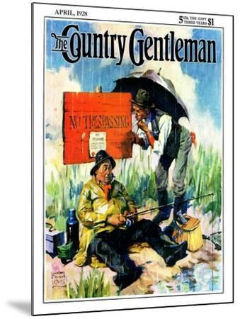 """""""'No Trespassing',"""" Country Gentleman Cover, April 1, 1928-William Meade Prince-Mounted Giclee Print"""