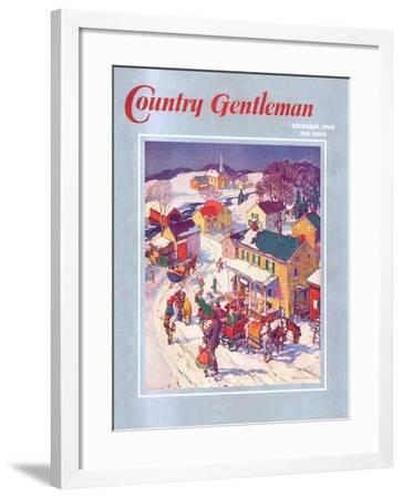 """Christmas in Town,"" Country Gentleman Cover, December 1, 1940-Henry Soulen-Framed Giclee Print"