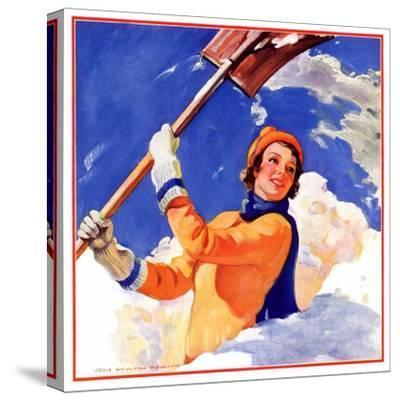 """Woman Shoveling Snow,""February 1, 1935-John Newton Howitt-Stretched Canvas Print"
