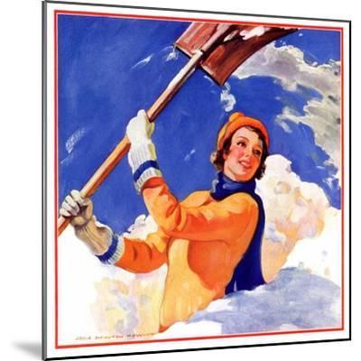 """Woman Shoveling Snow,""February 1, 1935-John Newton Howitt-Mounted Giclee Print"