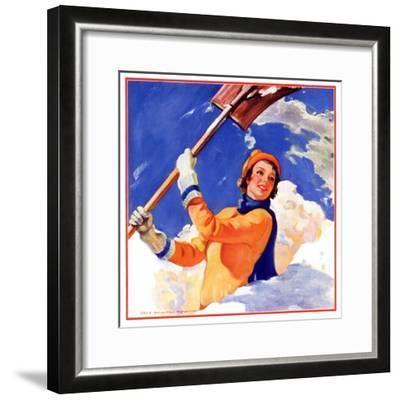 """""""Woman Shoveling Snow,""""February 1, 1935-John Newton Howitt-Framed Giclee Print"""