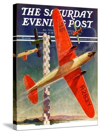 """""""Airshow,"""" Saturday Evening Post Cover, September 4, 1937-Clayton Knight-Stretched Canvas Print"""
