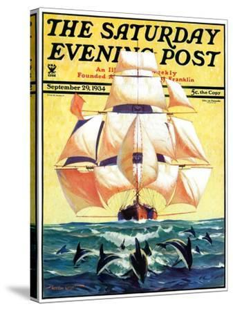 """""""Dolphins and Ship,"""" Saturday Evening Post Cover, September 29, 1934-Gordon Grant-Stretched Canvas Print"""