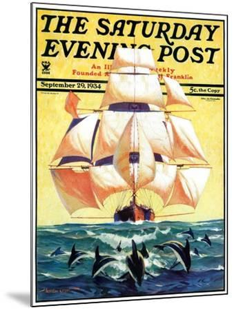 """""""Dolphins and Ship,"""" Saturday Evening Post Cover, September 29, 1934-Gordon Grant-Mounted Giclee Print"""