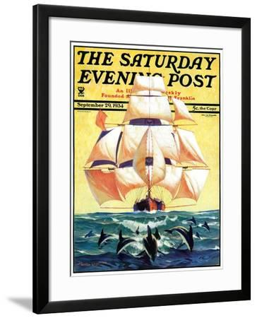 """""""Dolphins and Ship,"""" Saturday Evening Post Cover, September 29, 1934-Gordon Grant-Framed Giclee Print"""