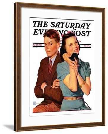 """""""Phone Call from Another Suitor,"""" Saturday Evening Post Cover, May 27, 1939-Douglas Crockwell-Framed Giclee Print"""