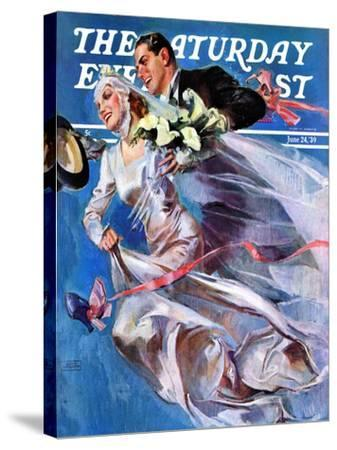 """Wedding Day,"" Saturday Evening Post Cover, June 24, 1939-John LaGatta-Stretched Canvas Print"
