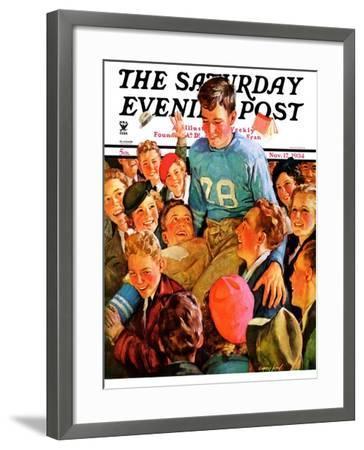 """""""Football Hero,"""" Saturday Evening Post Cover, November 17, 1934-Eugene Iverd-Framed Giclee Print"""