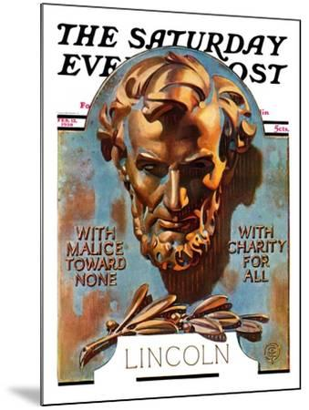 """Bronze Lincoln,"" Saturday Evening Post Cover, February 12, 1938-Joseph Christian Leyendecker-Mounted Giclee Print"