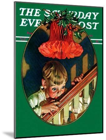 """Christmas Peek,"" Saturday Evening Post Cover, December 23, 1939-Joseph Christian Leyendecker-Mounted Giclee Print"
