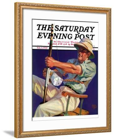 """Deep Sea Fisherman,"" Saturday Evening Post Cover, February 2, 1935-Edgar Franklin Wittmack-Framed Giclee Print"