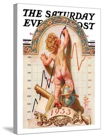 """""""Baby New Year Charting 1933,"""" Saturday Evening Post Cover, December 31, 1932-Joseph Christian Leyendecker-Stretched Canvas Print"""