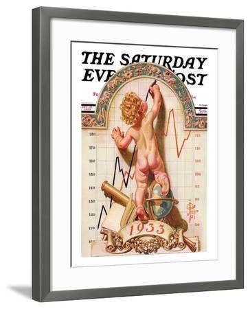 """Baby New Year Charting 1933,"" Saturday Evening Post Cover, December 31, 1932-Joseph Christian Leyendecker-Framed Giclee Print"