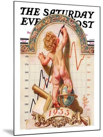 """""""Baby New Year Charting 1933,"""" Saturday Evening Post Cover, December 31, 1932-Joseph Christian Leyendecker-Mounted Giclee Print"""