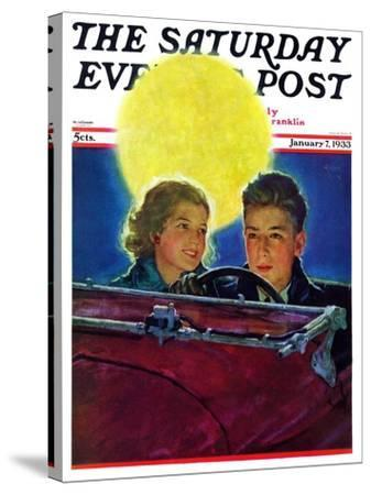 """""""Moonlit Car Ride,"""" Saturday Evening Post Cover, January 7, 1933-Eugene Iverd-Stretched Canvas Print"""
