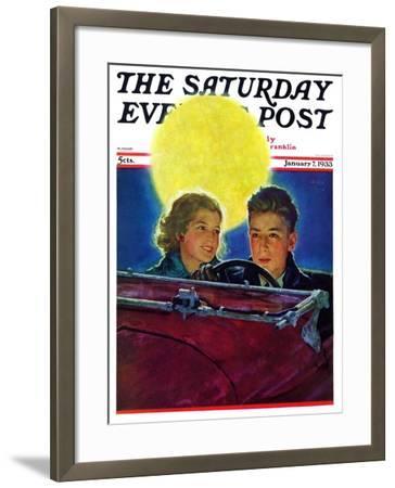 """Moonlit Car Ride,"" Saturday Evening Post Cover, January 7, 1933-Eugene Iverd-Framed Giclee Print"