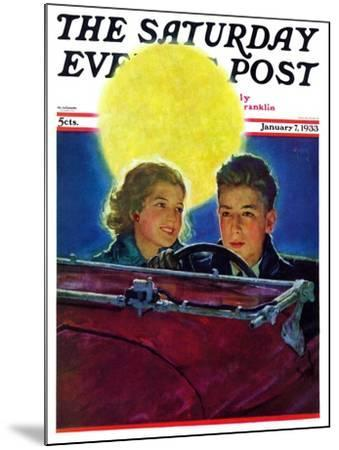 """""""Moonlit Car Ride,"""" Saturday Evening Post Cover, January 7, 1933-Eugene Iverd-Mounted Giclee Print"""