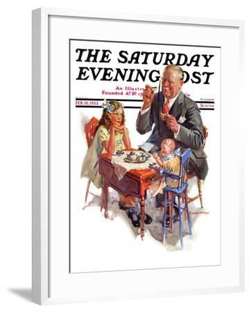 """""""Tea for Grandpa,"""" Saturday Evening Post Cover, February 18, 1933-C^ Gager Phillips-Framed Giclee Print"""