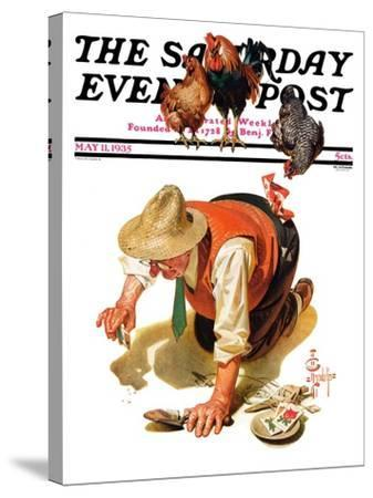 """""""Hens and Gardner,"""" Saturday Evening Post Cover, May 11, 1935-Joseph Christian Leyendecker-Stretched Canvas Print"""