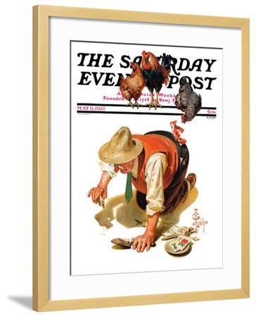 """Hens and Gardner,"" Saturday Evening Post Cover, May 11, 1935-Joseph Christian Leyendecker-Framed Giclee Print"