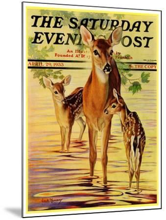 """""""Doe and Fawns,"""" Saturday Evening Post Cover, April 29, 1933-Jack Murray-Mounted Giclee Print"""