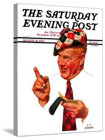 """Argyle Golfer,"" Saturday Evening Post Cover, August 31, 1935-J^F^ Kernan-Stretched Canvas Print"