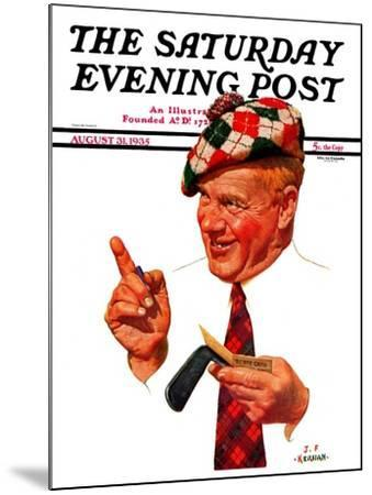 """Argyle Golfer,"" Saturday Evening Post Cover, August 31, 1935-J^F^ Kernan-Mounted Giclee Print"