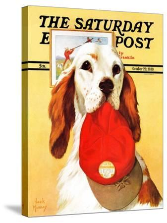"""""""Hunting Dog and Cap,"""" Saturday Evening Post Cover, October 29, 1938-Jack Murray-Stretched Canvas Print"""