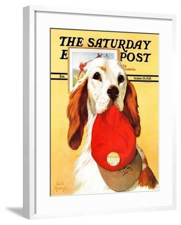 """""""Hunting Dog and Cap,"""" Saturday Evening Post Cover, October 29, 1938-Jack Murray-Framed Giclee Print"""