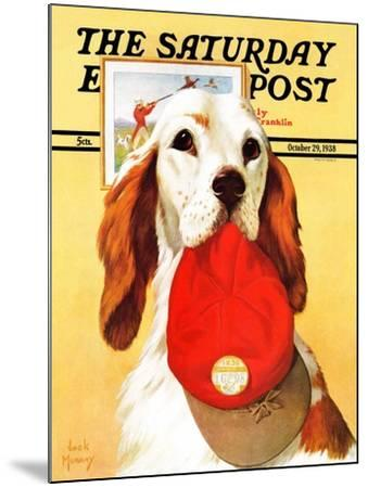 """""""Hunting Dog and Cap,"""" Saturday Evening Post Cover, October 29, 1938-Jack Murray-Mounted Giclee Print"""