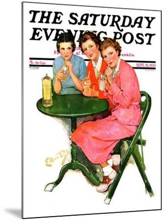 """""""Girls Sipping Sodas,"""" Saturday Evening Post Cover, September 21, 1935-Ellen Pyle-Mounted Giclee Print"""