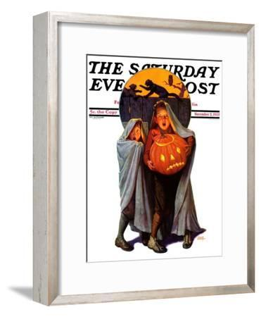 """""""Halloween Scare,"""" Saturday Evening Post Cover, November 2, 1935-Frederic Stanley-Framed Giclee Print"""