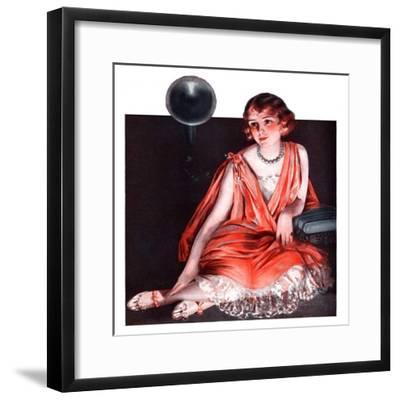 """""""Woman and Phonograph,""""March 21, 1925-Pearl L^ Hill-Framed Giclee Print"""