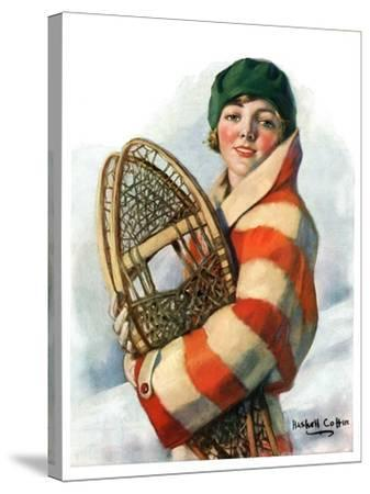 """""""Woman and Snowshoes,""""January 26, 1929-William Haskell Coffin-Stretched Canvas Print"""