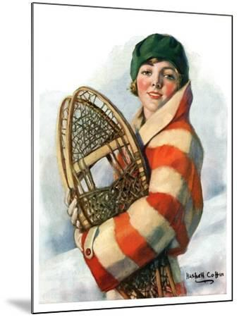 """""""Woman and Snowshoes,""""January 26, 1929-William Haskell Coffin-Mounted Giclee Print"""