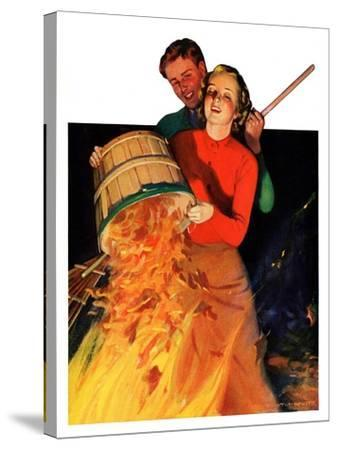 """Bonfire,""December 12, 1936-John Newton Howitt-Stretched Canvas Print"