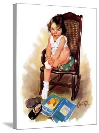 """""""Toddler in Rocker,""""November 12, 1932-Ellen Pyle-Stretched Canvas Print"""