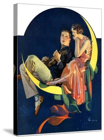 """Crescent Moon Couple,""June 14, 1930-Elbert Mcgran Jackson-Stretched Canvas Print"
