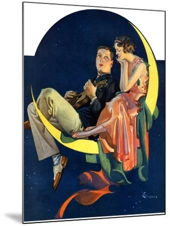 """Crescent Moon Couple,""June 14, 1930-Elbert Mcgran Jackson-Mounted Giclee Print"