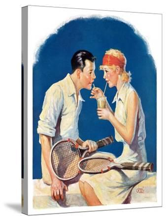 """Tennis Couple,""June 21, 1930-James C^ McKell-Stretched Canvas Print"