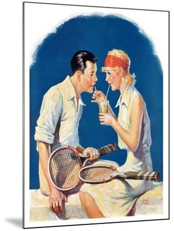 """Tennis Couple,""June 21, 1930-James C^ McKell-Mounted Giclee Print"