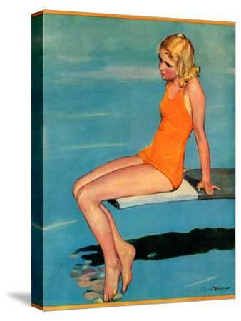 """Sitting on the Diving Board,""August 19, 1933-Penrhyn Stanlaws-Stretched Canvas Print"