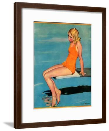 """Sitting on the Diving Board,""August 19, 1933-Penrhyn Stanlaws-Framed Giclee Print"