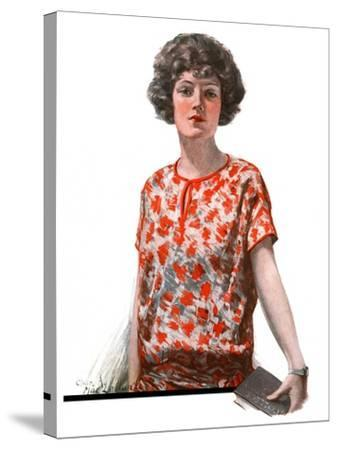 """""""Woman in Floral Print,""""January 27, 1923-Charles A. MacLellan-Stretched Canvas Print"""