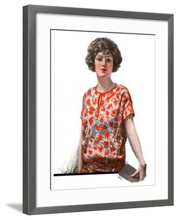 """""""Woman in Floral Print,""""January 27, 1923-Charles A. MacLellan-Framed Giclee Print"""