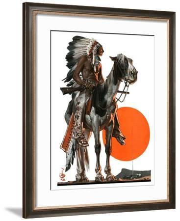 """Indian Sunset,""March 17, 1923-Joseph Christian Leyendecker-Framed Giclee Print"